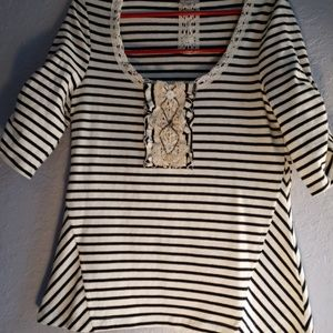 Anthropologie 9 His Stcl Striped Embellished Top